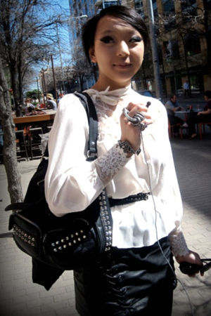 white vintage blouse - black f21 skirt - silver assorted accessories - black bel
