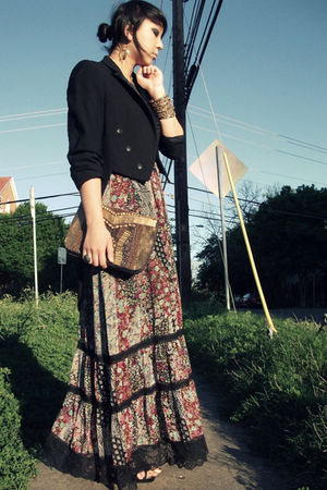 black vintage blazer - f21 shoes - f21 dress - asos bag - Amrita Singh bracelet