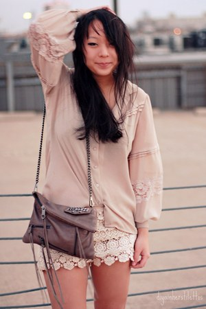 light brown fringe Rebecca Minkoff bag - cream crochet Charlotte Russe shorts - 