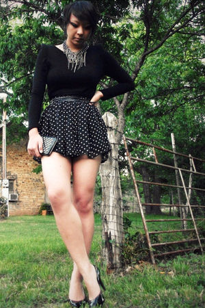 black asos dress - black f21 skirt - black calvin klein shoes - f21 belt