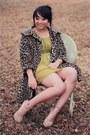 Chartreuse-silk-modcloth-dress-camel-leopard-vintage-coat-tan-forever-21-hee