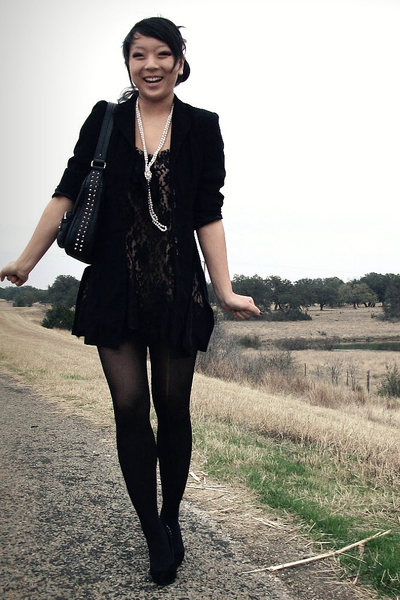 beige f21 dress - black thrifted blazer - white Ebay necklace - black f21 tights