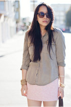 army green military Zara shirt - light pink tweed Zara skirt