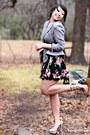 Black-forever-21-skirt-heather-gray-vintage-blazer-beige-forever-21-heels