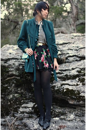 teal asos coat - black Forever 21 skirt - cream Forever 21 blouse - gold thrifte