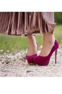 Maroon-pumps-bakers-heels-light-purple-maxi-american-apparel-skirt-pink-flor