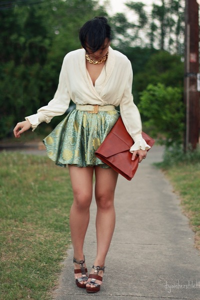 green brocade DIY skirt - brick red leather asos bag