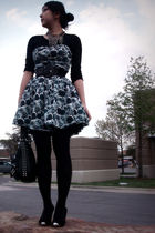black top - blue dress - black belt - black purse - necklace - shoes