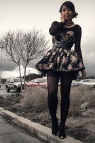 black dress - black top - black belt - black shoes - gray necklace - black tight