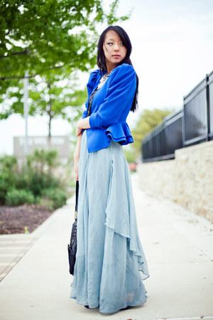 sky blue maxi asos skirt - blue peplum vintage blazer