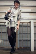 gray blazer - white top - gray skirt - black shoes - silver necklace - black pur