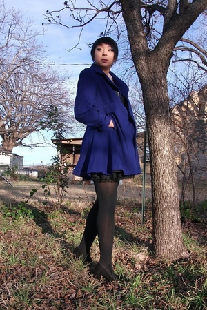 blue Laundry by Shelli Segal coat - black Old Navy shirt - black f21 skirt - bla