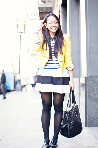 white striped Saint James shirt - yellow zipper Zara jacket