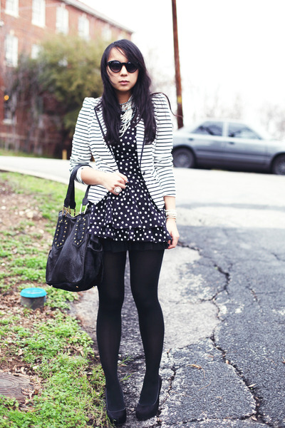 7ac1fb7616d7 white striped Forever 21 blazer - black polka dot dog and pony dress