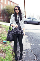 white striped Forever 21 blazer - black polka dot dog and pony dress