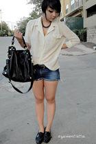 black London Fog bag - free people shoes - white vintage blouse
