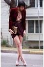 Crimson-velvet-thrifted-blazer-maroon-drape-forever-21-skirt