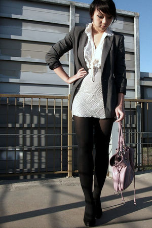 gray vintage blazer - gray UO skirt - white vintage shirt - purple overstock pur