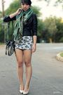 Black-forever-21-jacket-green-dress-street-vendor-scarf