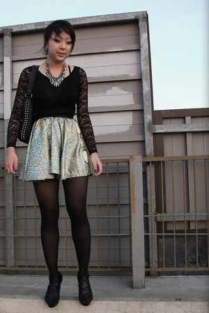 DIY skirt - f21 top - f21 necklace - f21 shoes - UO tights - leonello borghi pur