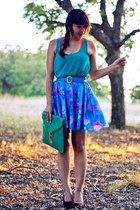 blue color block vintage skirt - turquoise blue clutch asos bag