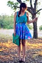 blue color block vintage skirt - turquoise blue clutch asos bag