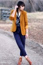 Mustard-vintage-blazer-navy-urban-outfitters-pants-camel-michael-kors-boots-