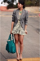 light blue Urban Outfitters dress - teal presa bag - eggshell Forever 21 heels