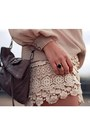 Light-brown-fringe-rebecca-minkoff-bag-cream-crochet-charlotte-russe-shorts-