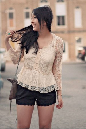 white lace thrifted blouse - light brown leather Rebecca Minkoff bag