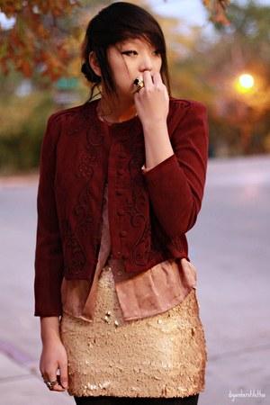 gold Charlotte Russe skirt - crimson vintage blazer - peach silk vintage blouse