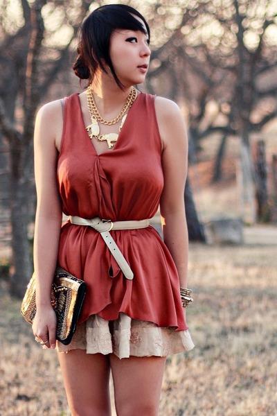 burnt orange drape Topshop blouse - tan lace Forever 21 skirt