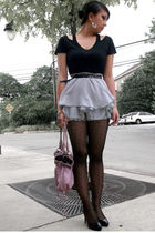 gray Wet Seal skirt - black gifted eigtheenthnyc top - black f21 tights - silver