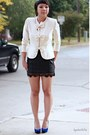 Ivory-thrifted-blazer-black-forever-21-skirt