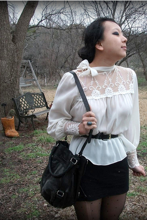 Tabio tights - white vintage shirt - the sak bag - random belt - f21 skirt