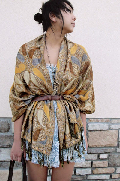 gold Street Vendor scarf - urban outfitter dress