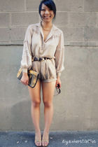 beige vintage blouse - beige Lulus shorts - gold thrifted shoes - gold asos purs