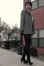 Purple-skirt-gray-vintage-coat-white-vintage-shirt-black-aldo-shoes-blac