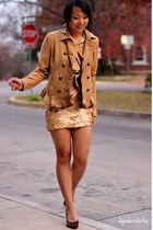 gold Charlotte Russe skirt - tawny Forever 21 belt - nude thrifted blouse - came