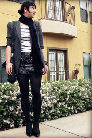 black Express skirt - white f21 top - vintage blazer - thrifted calvin klein sho