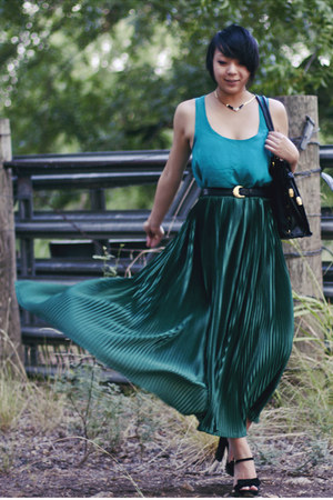 dark green maxi skirt American Apparel skirt - turquoise blue silk Forever 21 to