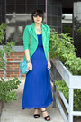 Blue-maxi-forever21-dress-green-color-blocking-gojane-blazer