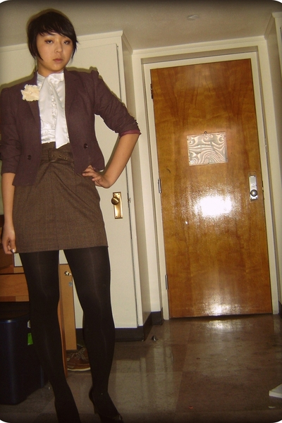 skirt - vintage blazer - papaya blouse - forever 21 accessories