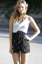 cross Reverse skirt - cropped brandy melville top - cutout Dollhouse heels
