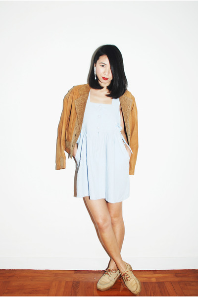 light blue Ezzentric Topz dress - tawny Ezzentric Topz jacket