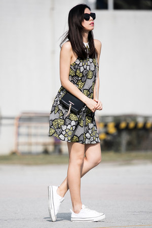 black River Island dress - black MinkPink sunglasses - white Converse sneakers