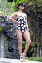 black Monki sunglasses - beige Palladium boots - black Motel Rocks swimwear