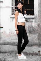 black Gap jeans - white Gap top - white Adidas sneakers