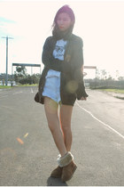 olive green Zara cardigan - light brown Ugg boots - light blue Levis shorts