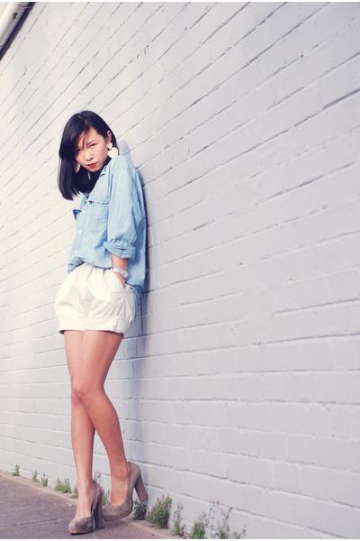sky blue Timberland shorts - white vintage shorts